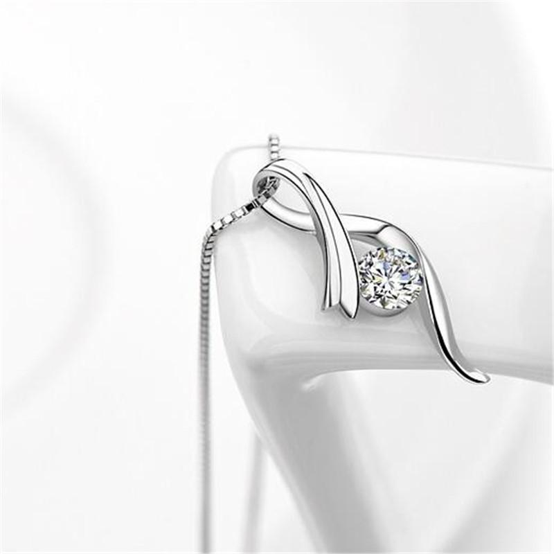 Cubic Zirconia CZ Diamond Pendant Necklace White Gold Plated Korea Trendy Jewelry For Women Friendship Party Gift