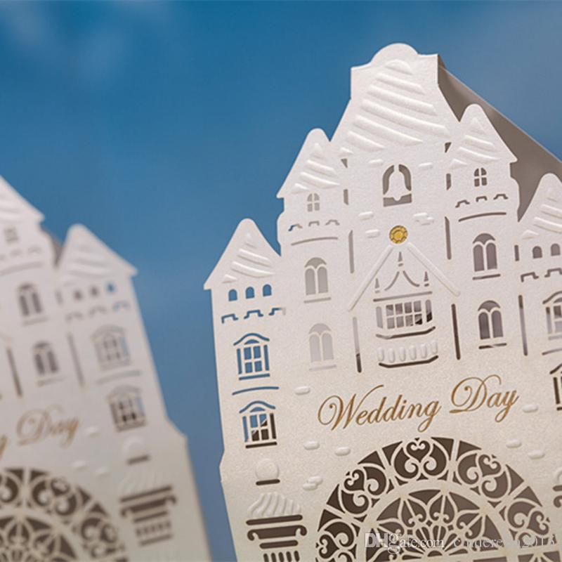 Gorgeous Cream White Church Cut-out Chocolate Gifts Candy Favors Boxes With for Wedding Laser Cut Ceremony Party Decoration