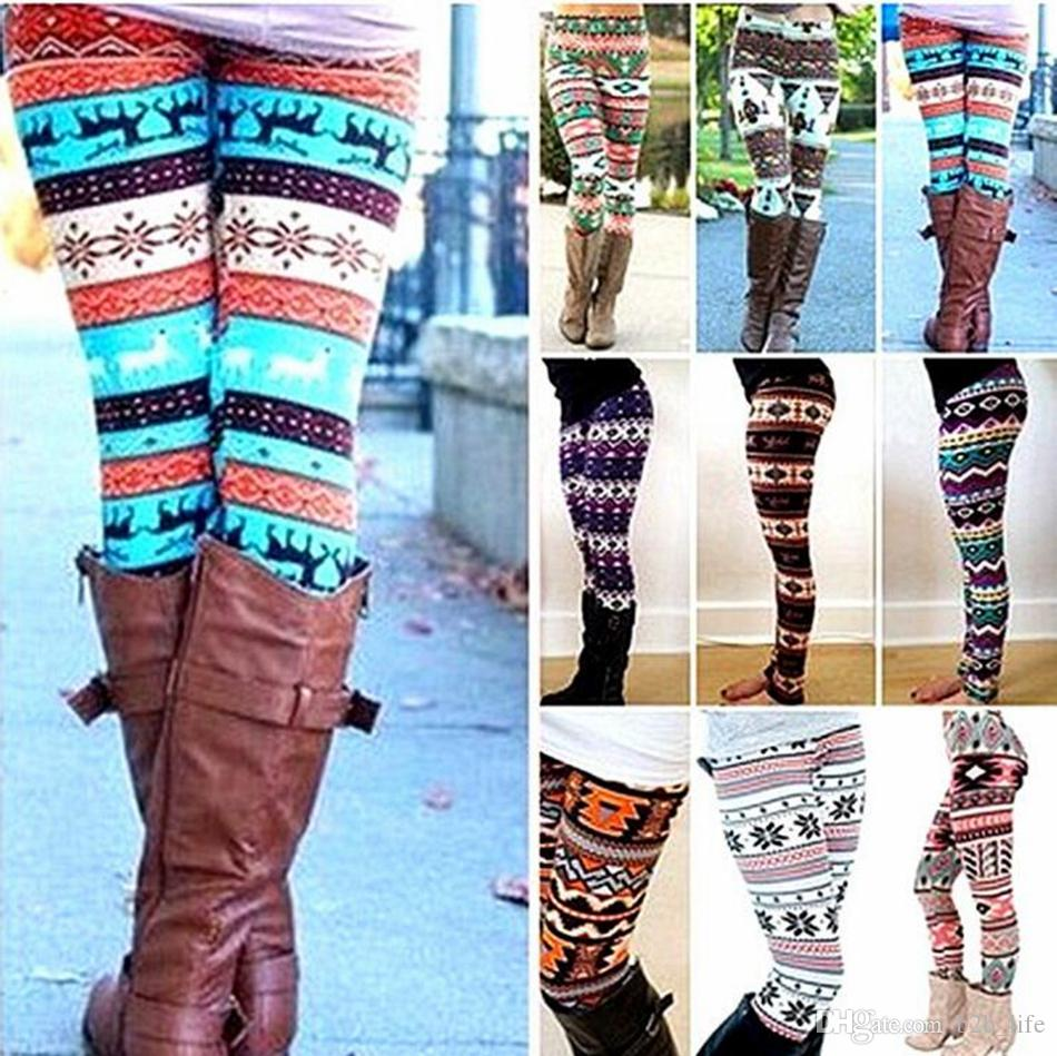 Winter Christmas Snowflake Knitted Leggings Xmas Warm Stockings Pants Stretch Tights Women Bootcut Stretchy Pants OOA3442