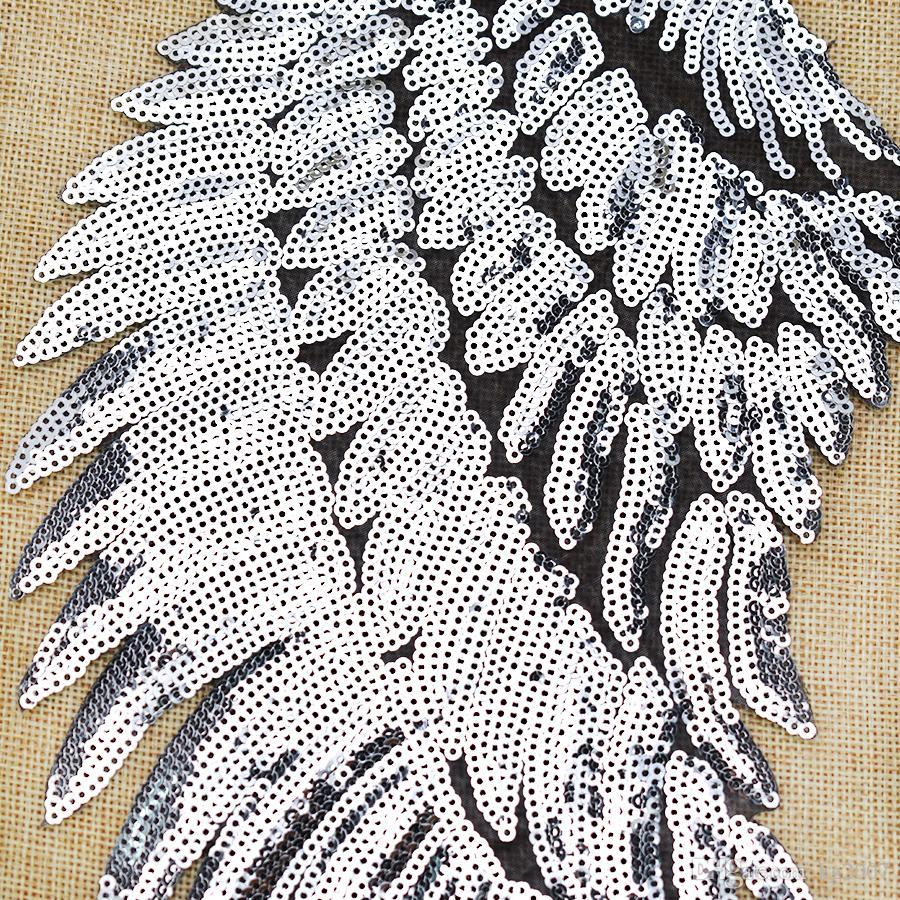 1 Пары Sequined Крылья Патчи для одежды железа на передаче Аппликация Патч куртка джинс DIY пришить вышивки Пайетки
