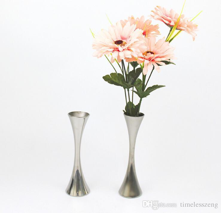 Européenne Unique Tour Port Fleur Vases De Mode En Acier Inoxydable Mince Taille Vase Home Decor Ornements Accessoires Pour Salle À Manger Salon