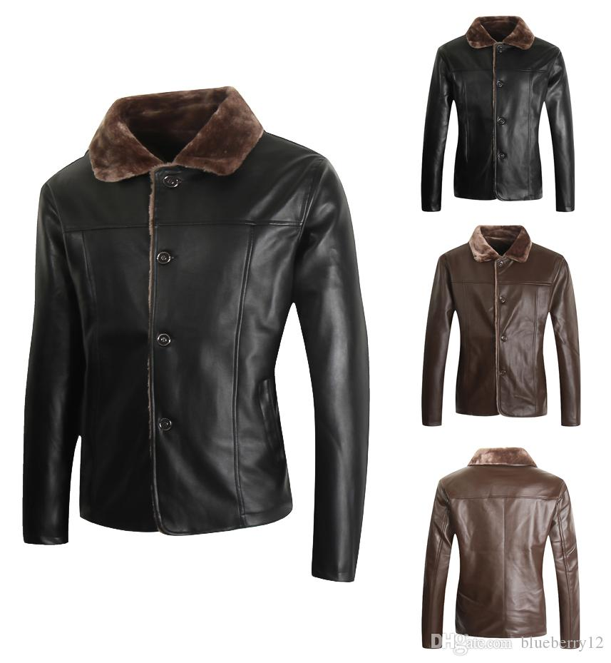 Hot Warm Fleece Winter Fashion Stylish Brand Men's leather Jacket Collar Stand Slim Motorcycle Faux Leather Male Coat Outwear Jacket