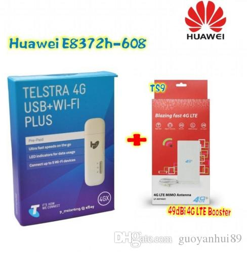 Unlocked Huawei E8372 E8372h-608 150Mbps 4G LTE USB modem Mobile WiFi  dongle with 49DBI TS9 4g antenna