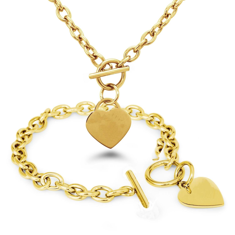 Прохладный золото и серебро опционально нержавеющей стали сердце цепи Necklacebracelet с переключателем Застежка горячие ювелирные изделия
