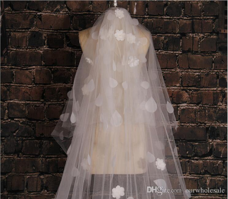 wedding veils hair accessories for bride Korean aesthetic water droplet flower has a long tail 3.5M wholesale