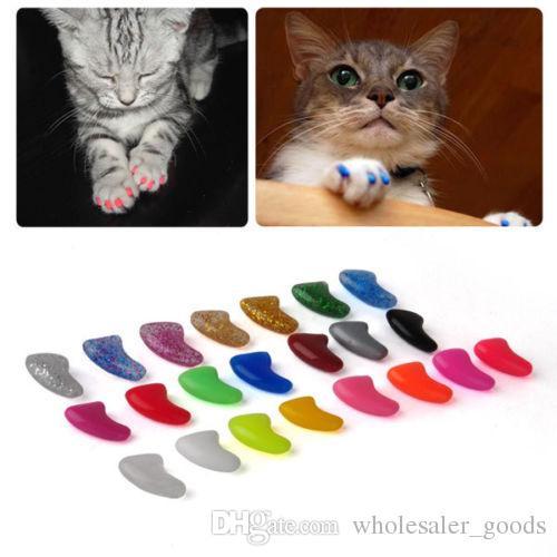 Haustier-Versorgungsmaterialien weiche Katze-Haustier-Nagel-Kappen-Greifer-Steuerpfoten weg vom Kleber-Kleber-Größe XS-L Haustier-Hundespielzeug-Hund