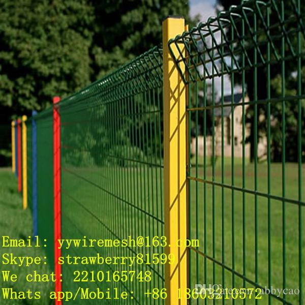 Wire Mesh Fence Panels 2017 green wire mesh fence panel + red or yellow peach fence post