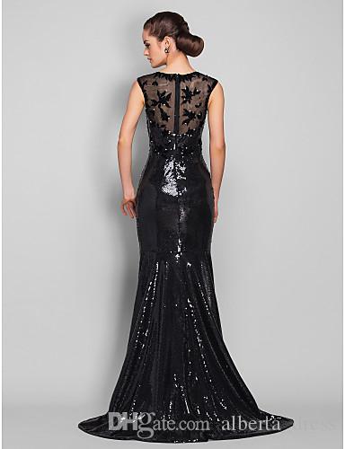 Nowy projekt Czarny Cekiny Crew Mermaid Formalne Suknie Wieczorowe Party Suknie Niestandardowe Wykonane Darmowa Wysyłka Wysoka Jakość