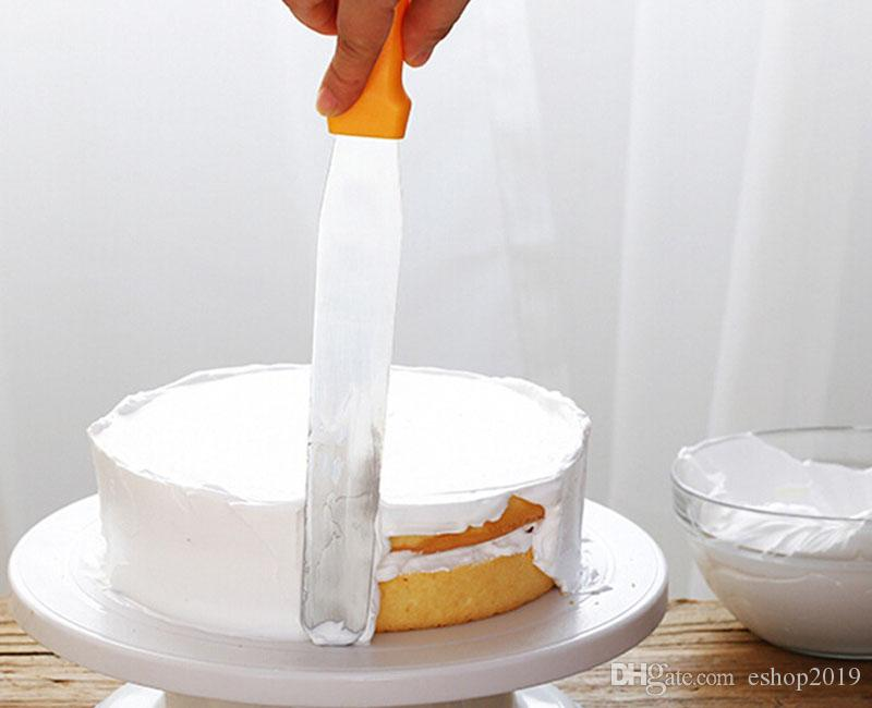 Metal Kitchen Baking Pastry Plastic Handle Cake Icing Spatulas Cream Butter Smooth Flat Scraper Blade Decorating Tool