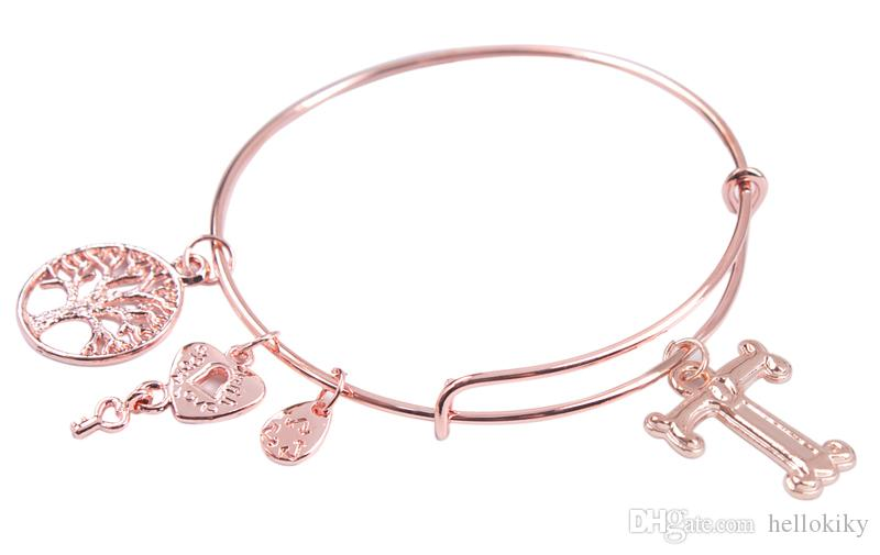 Fashion bangle bracelet Rose Gold Color Initial Letter Charm Expandable Wire Bangle