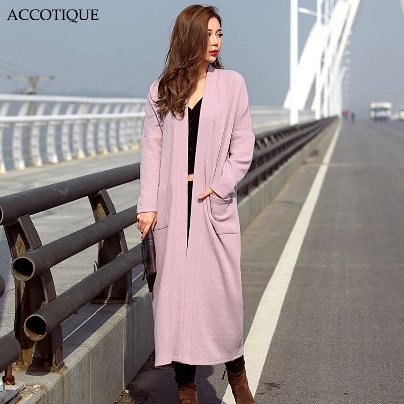High Quality New Autumn Winter Women's Solid Batwing Sleeve Long Blends Female Pink Black Grey Knitting Elegant Outerwear Coat