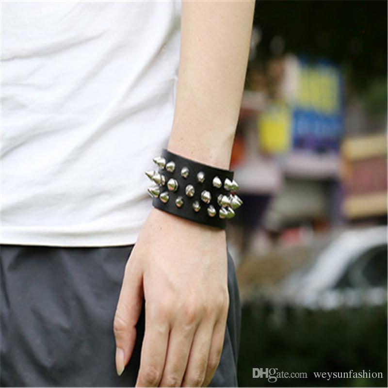 Unique Four Row Cuspidal Spikes Rivet Stud Wide Cuff Leather Punk Gothic Rock Unisex Bangle Bracelet men jewelry
