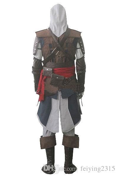 Assassin creed IV 4 Siyah Bayrak Edward Kenway Cosplay Kostüm Tüm Set Custom Made Express Kargo