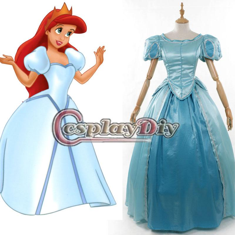 The Little Mermaid Ariel Princess Dress Blue Version Adult Women ...
