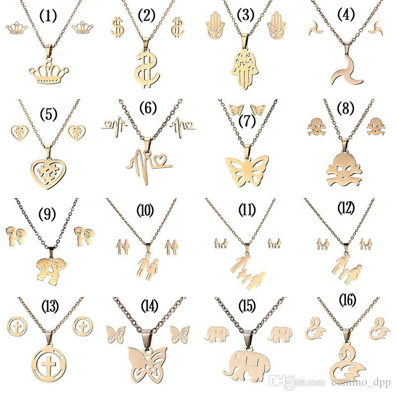 16 stilleri 316L paslanmaz çelik Takı setleri Taç Kafatası kelebek Fil Kalp kolye kolye Küpe kadınlar Için Moda Takı Set