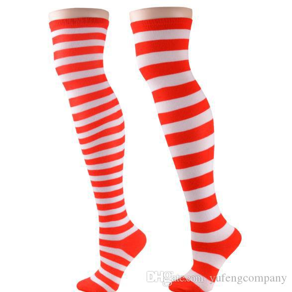 d16c1fd5954 Christmas Costume Knee Socks Red And White Striped Lady Socks COSPLAY  Animation Theme Costume Socks Long Style Group Halloween Themes Online  Halloween ...