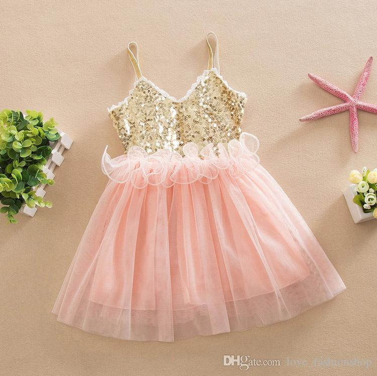 2019 Cheap 2019 Baby Girls Summer Sequin Tulle Suspender Princess