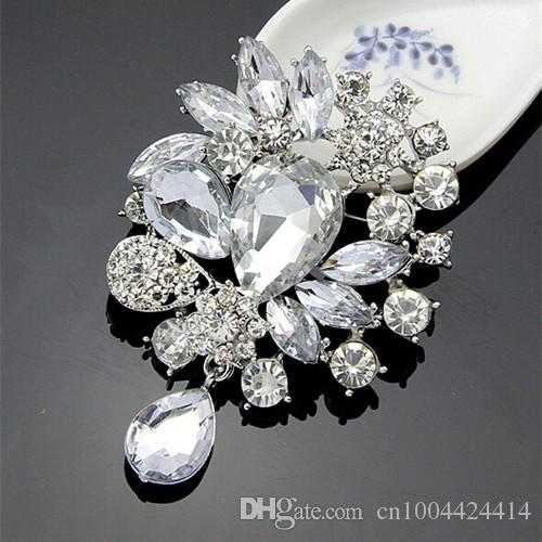 High Quality Silver Alloy Big Waterdrop Crystals Weddinig Bridal Bouquet Fashion Brooches Pin Wholesale Elegant Party Jewelry Accessories