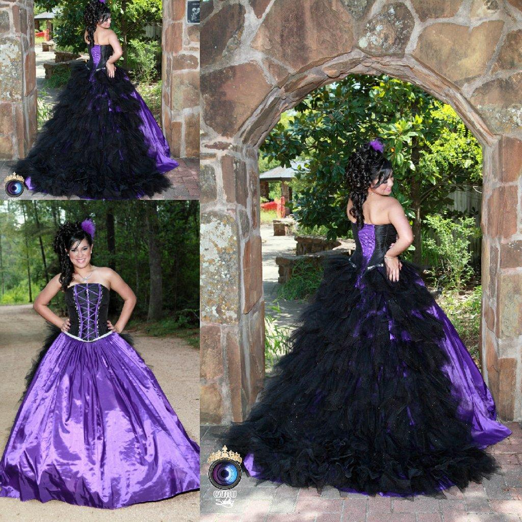 2015 Spring Purple And Black Ball Gown Gothic Wedding Dresses ...