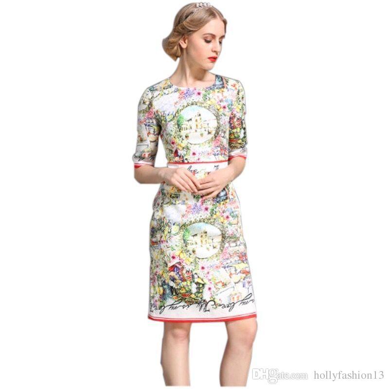 e0a510d049 Compre Design Clássico Mulheres Top Fashion Verão Flor Colorida Impresso  Pista Magro Reta Vestido De Algodão Jacquard Vestidos Vintage De  Hollyfashion13