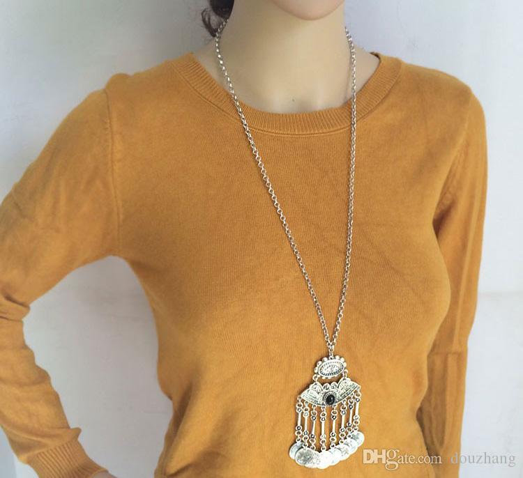 Joyas de Bohemia Moneda Suéter Collar de Cadena Larga Gypsy Tribal ÉtnicoTurkish Mujeres Boho Joyería Tallada de Plata Antigua Al Por Mayor