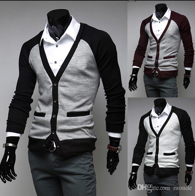 Discount Mens Black Wool Cardigan Sweater Red | 2018 Mens Black ...