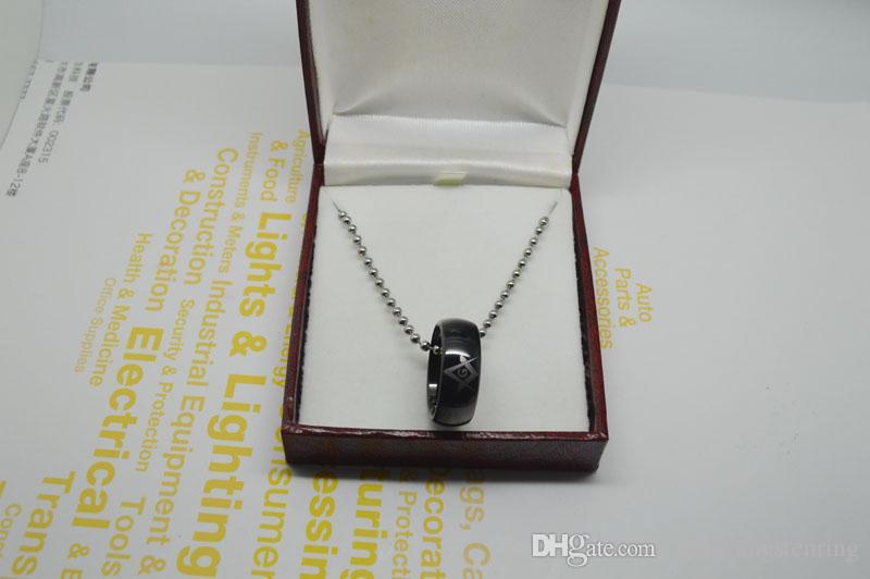 Anillo de tungsteno masónico negro plateado Alto pulido anillos de tungsteno anillo de bodas, anillos de compromiso