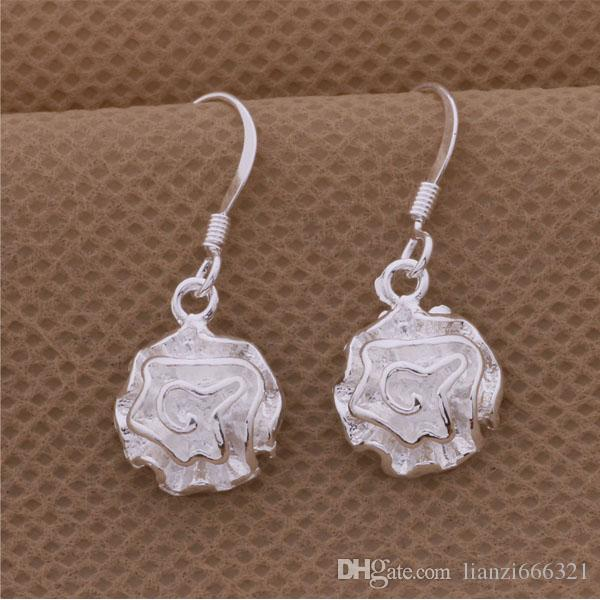 Fashion Pretty Explosion models in Europe and America Fashion Shine Rose 925 Silver Earrings silver earrings 1120
