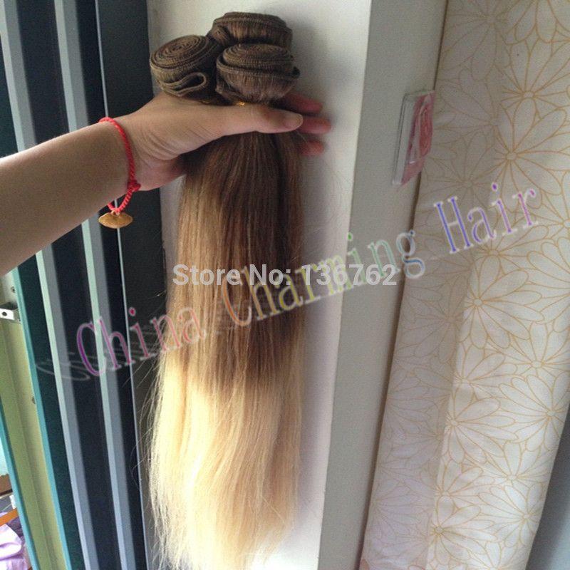 2016 новое прибытие ombre twon тон девственные волосы прямые 3 пучки 10 613 Ombre человеческих волос расширения платиновая блондинка два тона