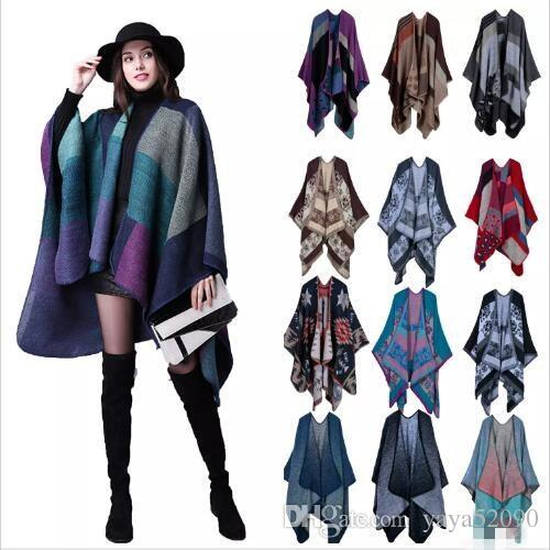 Plaid Poncho Women Vintage Fashion Scarf Wrap Knit Cashmere Scarves Lady Winter Capes jackets Shawl Cardigan Blankets Cloak Coat Sweater