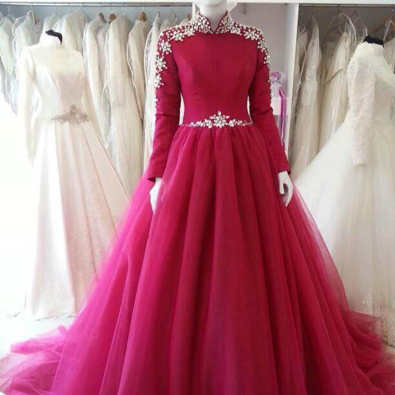 자홍색 하이 넥 이슬람 이브닝 드레스 긴팔 Abaya 이슬람 아랍어 댄스 파티 드레스 2015 Vestidos de Festa Dubai 공식 파티 가운