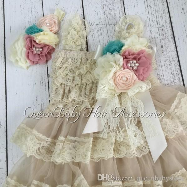 New Arrival Hot Selling Retail vintage Ivory Lace Infant Dresses Matching Headband and Broche Clip