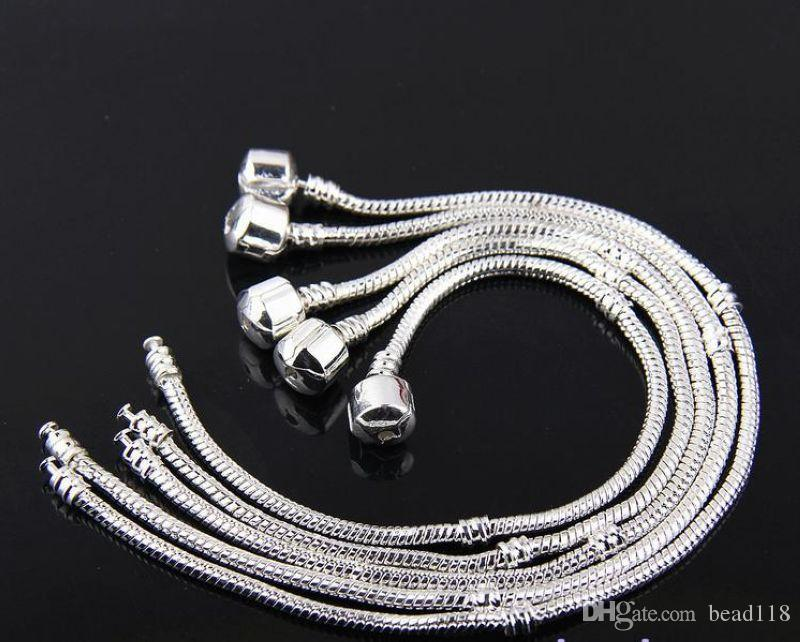 Hot ! Snake Chain Tibetan silver Charm Bracelets Fit European Beads DIY Accessories