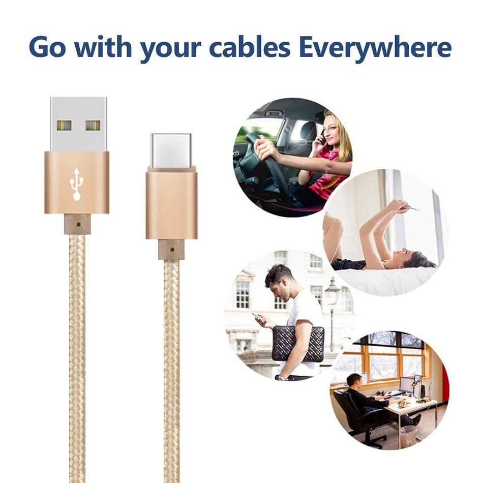 Cable USB de alta velocidad Tipo C a C Adaptador de carga Sincronización de datos Metal Cargador del teléfono Adaptador 0.48 mm Espesor Fuerte trenzado USB C Cargador
