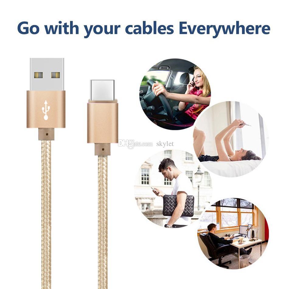 High-Speed-USB-Kabel Typ C TO C Ladeadapter Daten-Synchronisierungs-Metall Telefon Ladeadapter 0,48 mm Dicke Starke Geflochtene USB C-Ladegerät