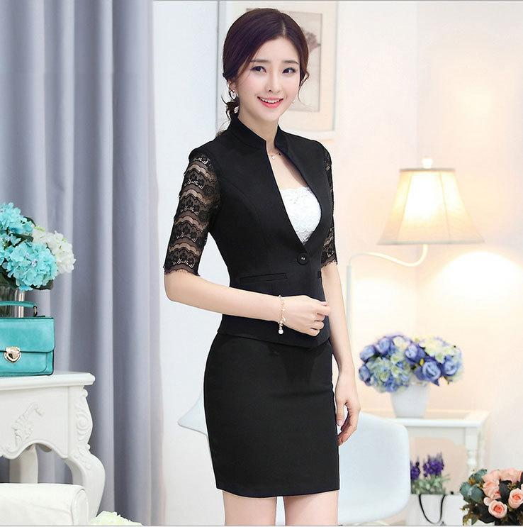 2017 Crop Top And Skirt Suit Set Women Beauty Salon Wear New 2015 ...