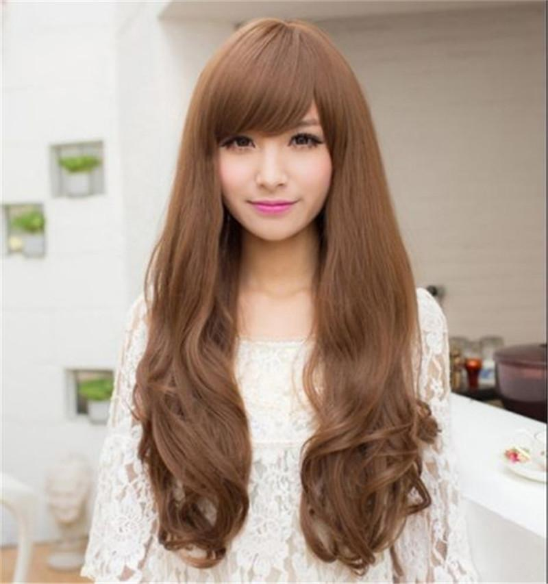 WoodFestival Hair Wigs Synthetic Curly Wavy Wigs Bangs Heat Resistant Black  Brown High Quality Harajuku Wig Cosplay Lace Front Wigs With Bangs Vanessa  Wigs ... c24da352ace8