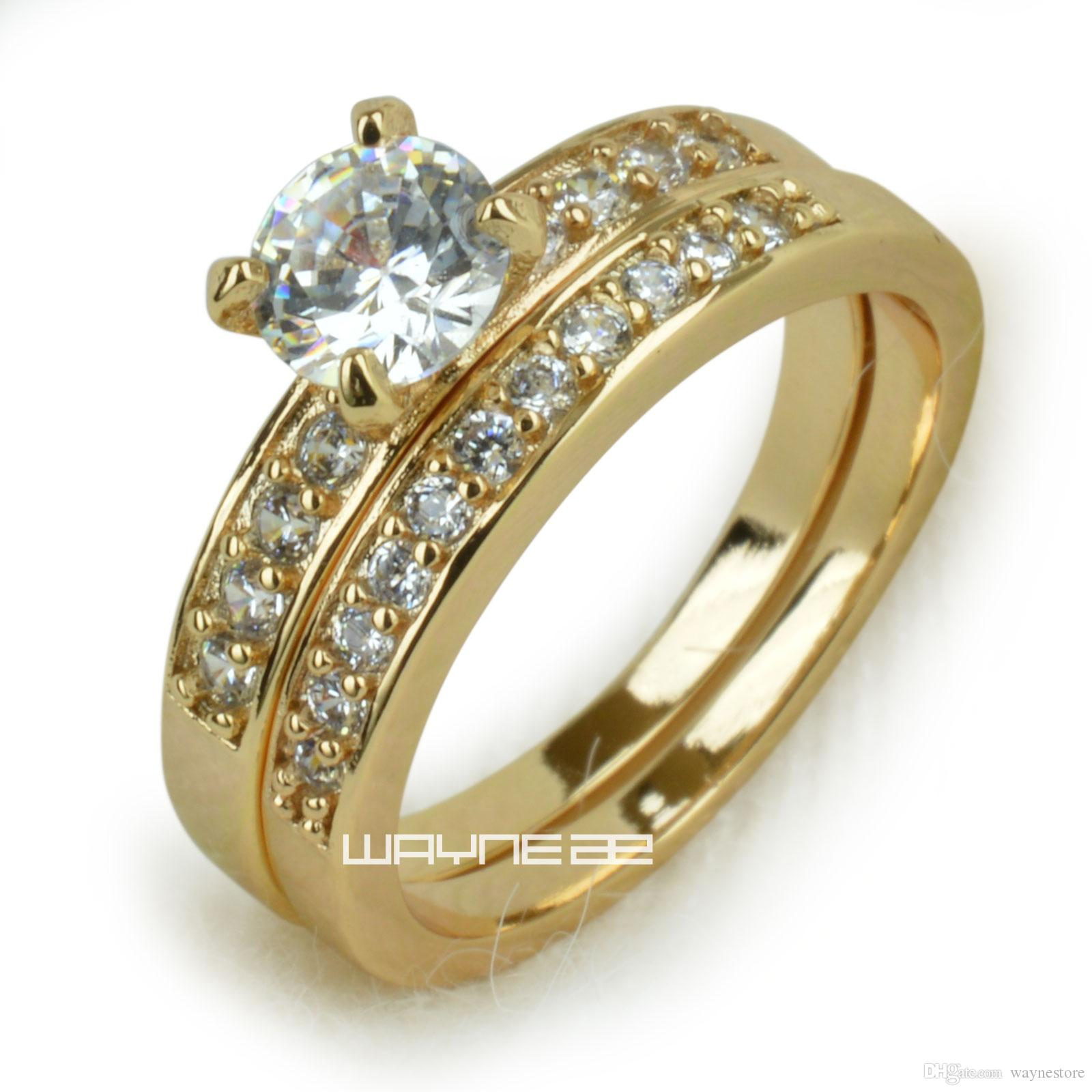 18k Gold Fileed Womens Engagement Wedding Ring Set Lab Diamonds R280
