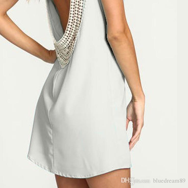 Beach dress women clothes fashion summer cheap casual plus size white dresses for women lace stitching chiffon halter maxi chiffon dress