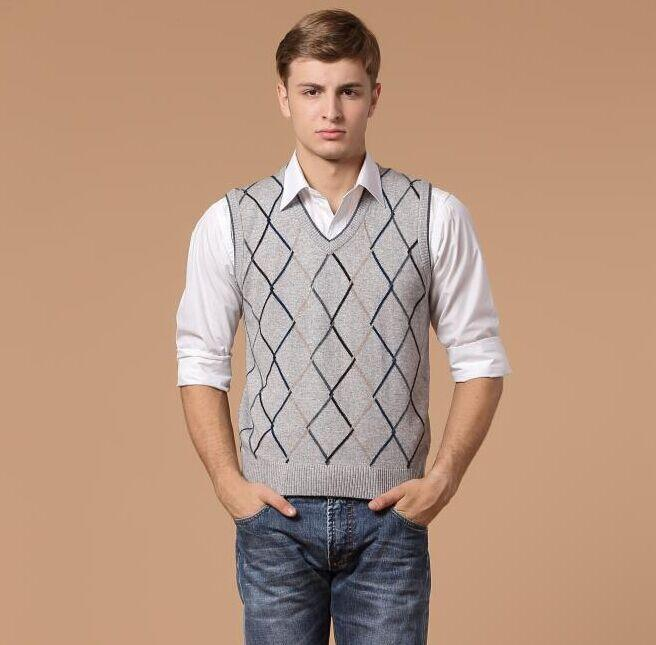 2018 2015 Fall V Neck Men'S Formal Argyle Cashmere Sweater Vest ...
