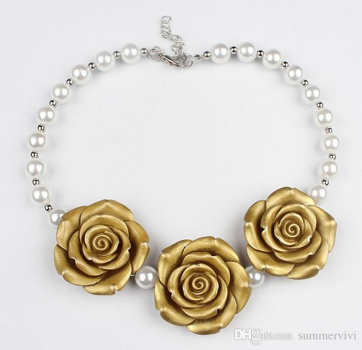 / Nouvelle Arrivée Boutique résine Rose Fleur Collier Filles Princesse Chunky Bubblegum Collier Pour Dress Up A7046