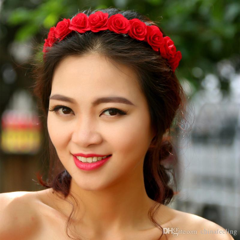 Bridal Jewelry Red Rose Flower Boho Hairband Womens Floral Garlands Headband Wedding Hair Accessories