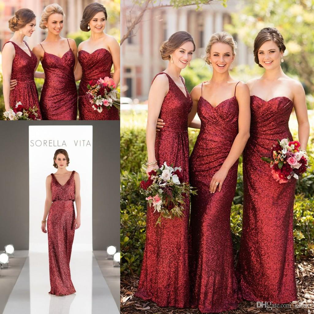Sparkly Burgundy Sequins Sorella Vita Long Bridesmaid Dresses 2018 ...