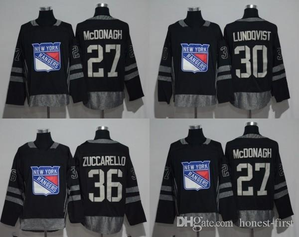 2019 1917 2017 100th Anniversary New York Rangers Jersey  36 Mats  Zuccarello  30 Henrik Lundqvist  27 Ryan McDonagh Black Stitched With Patch  From Honest ... d95e2397a