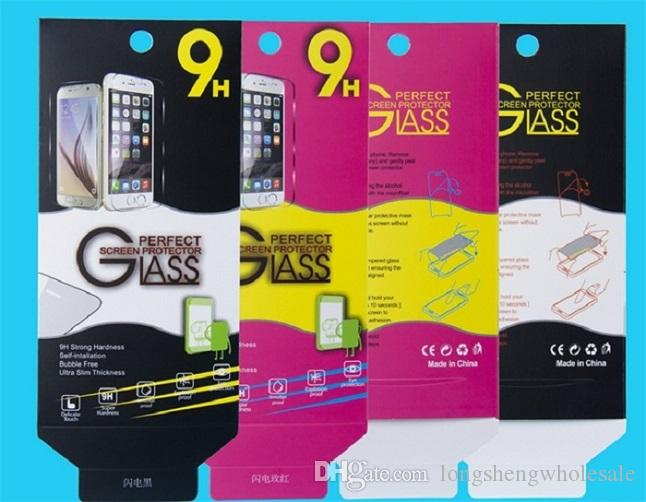 Empty Retail Package Black Paper Boxes each cheap box Packaging for Premium Tempered Glass 9H Screen Protector Sony iphone samsung