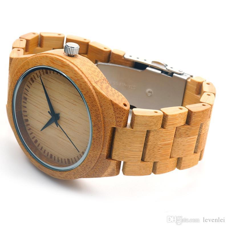 Relógios de bambu faixa de madeira miyota japonês 2035 movimento relógio de quartzo relógios de pulso unisex com caixa de presente para o Natal aceitar personalização OEM