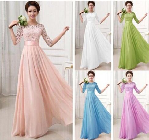 Discount 2016 Elegant A Line White Pink Lace Tulle Bridesmaid Wedding Dress With Sleeve Plus Size Maxi Chiffon Formal Bridal Gown Party