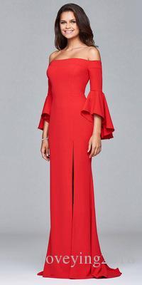 Nouvelle Arrivée De Luxe Sharp Couleur Off-épaule Volants Cloche Manches Designs Longue Fente Dîner Femmes De Soirée Dames Robe