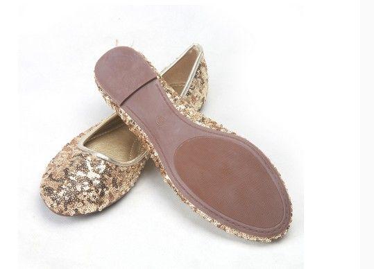 Moda En iyi satmak elbise ayakkabı altın düz madeni pul ayakkabı parti akşam ayakkabı gelin düğün ayakkabı yzs168