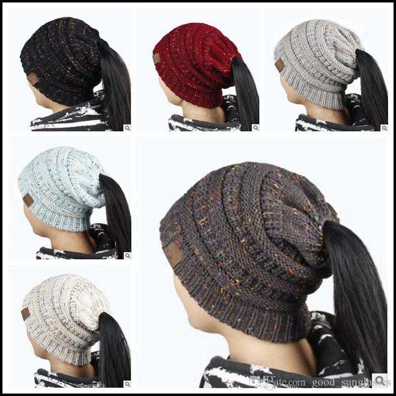 66d364148b9 Women CC Confetti Print Ponytail Caps CC Knitted Beanie Fashion Winter Warm  Hat Back Hole Pony Tail Casual Beanies CCA8226 CC Ponytail Caps CC Ponytail  ...